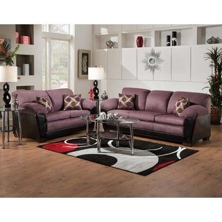SOFA TRENDZ Anita Eggplant Fabric 2-piece Sofa and Loveseat