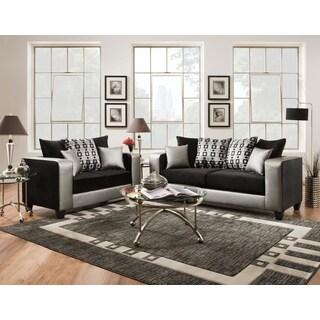SOFA TRENDZ Mallory Steel Faux Leather Sofa and Loveseat