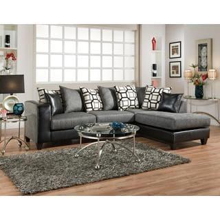 Sofa Trendz Dalin Black Microfiber Sectional Sofa Free