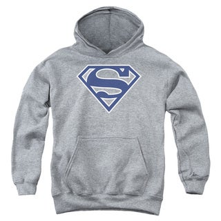 Youth Superman/Navy & White Shield Athletic Heather Pullover Hoodie