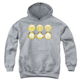 Youth's Athletic Heather Grey Cotton/Polyester Garfield/Emojis Pull-over Hoodie