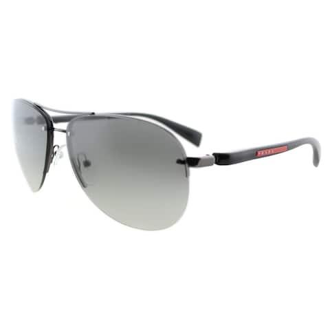 Prada Linea Rossa PS 56MS 5AV3M1 Gunmetal Metal Aviator Grey Gradient Lens Sunglasses