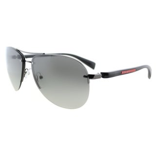 Prada Linea Rossa PS 56MS 5AV3M1 Gunmetal Metal Aviator Grey Gradient Lens Sunglasses
