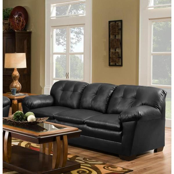 Shop Sofa Trendz Cole Solid Black Faux Leather Sofa - Free Shipping ...
