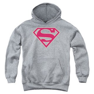 Youth's Superman/Crimson & Gray Shield Pull-Over Hoodie in Athletic Heather