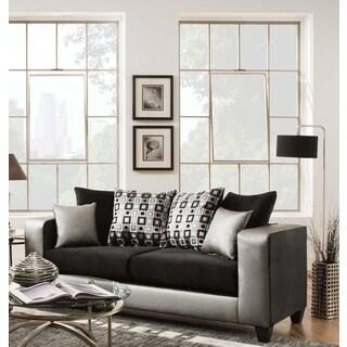 Sofa Trendz Mallory Black/Silver Microfiber And Polyurethane Sofa