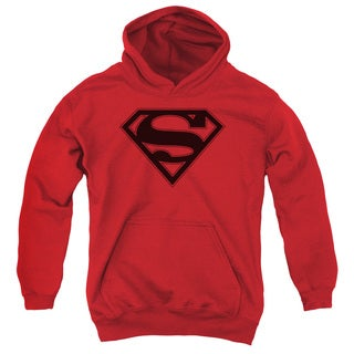 Superman Shield Red Cotton-blended Youth Pullover Hoodie