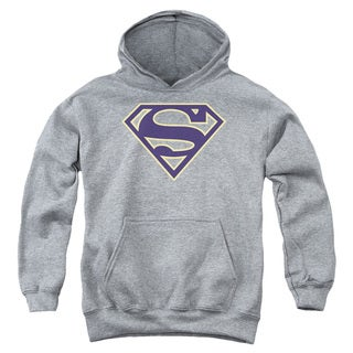Youth Superman Navy and Gold Shield Athletic Heather Pull-over Hoodie