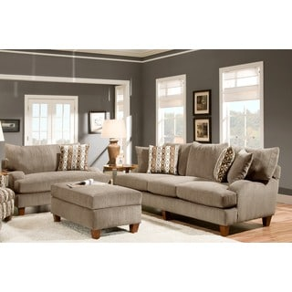 Sofa Trendz Adriene Taupe Cotton/Polyester Blend Sofa and Loveseat (Set of 2)