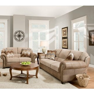 Sofa Trendz Alex Taupe/Brown Cotton/Polyester Blend Sofa and Loveseat (Set of 2)