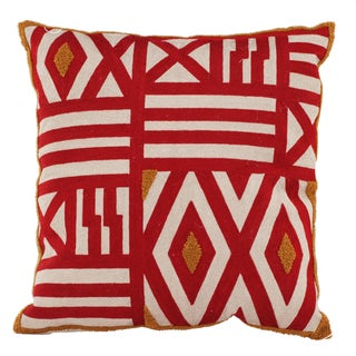 Red/Yellow Cotton-blended Embroidered Throw Pillow