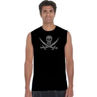 Men's 'Lyrics To A Legendary Pirate Song' Black Cotton Sleeveless Pirate T-shirt