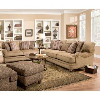 Sofa Trendz Aryane Tan Cotton/Polyester Sofa and Loveseat Set