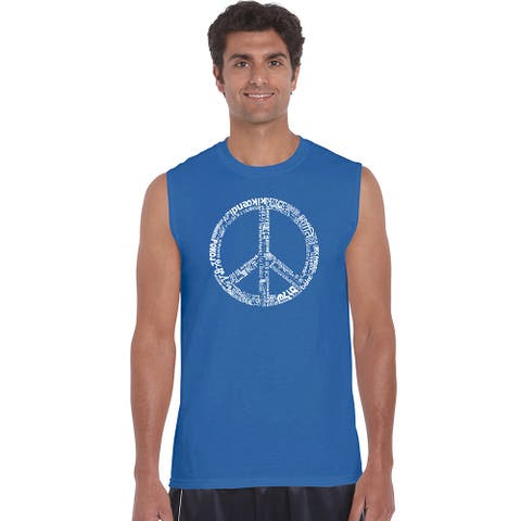 Men's Cotton Sleeveless Peace Sign T-shirt with the Word 'Peace' in 77 Languages