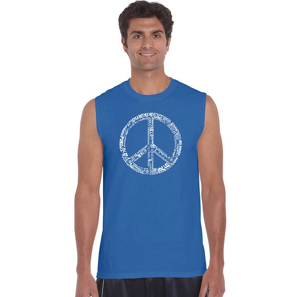 Mens Cotton Sleeveless Peace Sign T-shirt with the Word Peace in 77 Languages