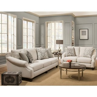 Sofa Trendz Kelly Cream/Beige Cotton/Polyester Blend Sofa and Loveseat (Set of 2)