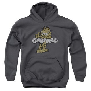 Garfield/Retro Garf Youth Pull-Over Hoodie in Charcoal