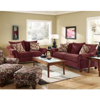 Sofa Trendz Roja Rust Red Cotton/Polyester Blend 2-piece Sofa and Loveseat Set