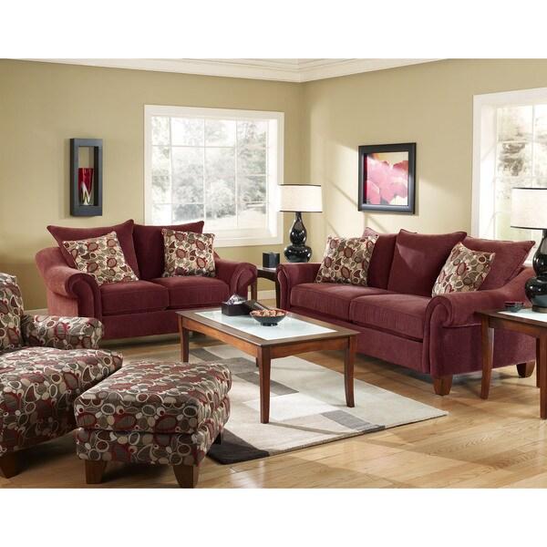 Shop Sofa Trendz Roja Red Sofa And Loveseat Set Free Shipping