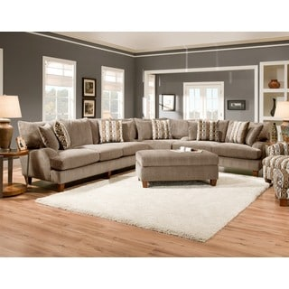 Sofa Trendz Ande Taupe Cotton/Polyester Blend Sectional and Ottoman (Set of 2)
