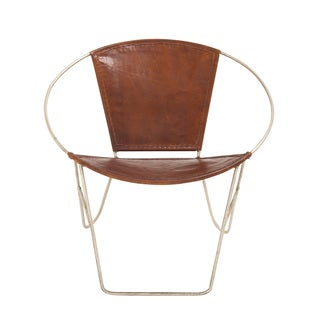 Customary Styled Fancy Metal Leather Chair