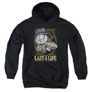 Garfield/Lazy 4 Life Youth Pull-Over Hoodie in Black