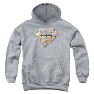 Youth Superman Basketball Shield Heather Pull-Over Hoodie