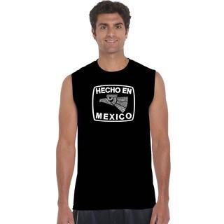 Men's 'Hecho en Mexico' Black Cotton Sleeveless T-shirt