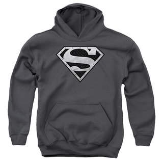 Youth's Charcoal Grey Cotton/Polyester Superman/Super Metallic Shield Pull-over Hoodie