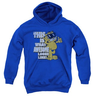 Garfield 'Awesome' Royal Blue Cotton-blended Youth Pullover Hoodie