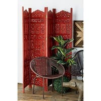 Traditional 72 x 80 Inch 4-Panel Wooden Screen Divider by Studio 350