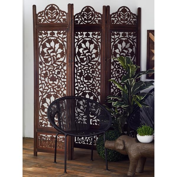 80 X 72 4 Panel Dark Brown Wood Room Divider By