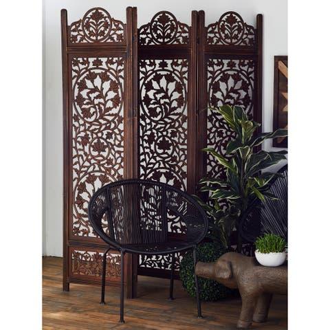 "80"" x 72"" 4-Panel Dark Brown Wood Room Divider by Studio 350"