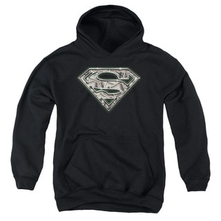 Superman/All About The Benjamins Youth Pull-Over Hoodie in Black