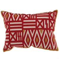 Feather-filled 14-inch x 20-inch Embroidered Throw Pillow