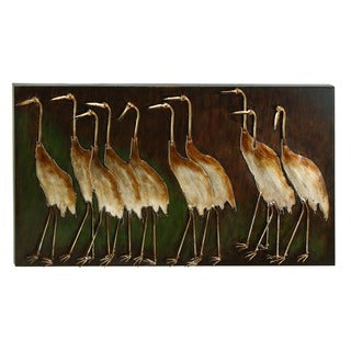 Studio 350 Metal Bird Wall Plaque 43 inches wide, 24 inches high - Brown