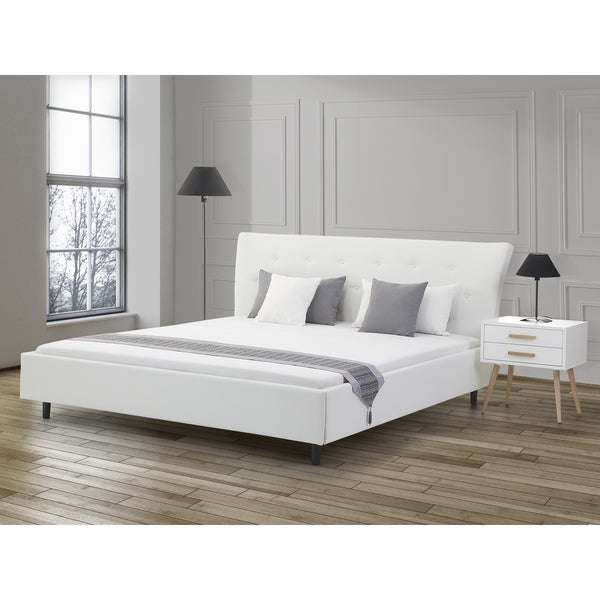 saverne white leather upholstered king size upholstered platform bed free shipping today. Black Bedroom Furniture Sets. Home Design Ideas