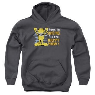 Garfield/Smiling Charcoal Grey Youth Pullover Hoodie