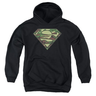 Superman/Camo Logo Youth Pull-Over Hoodie in Black