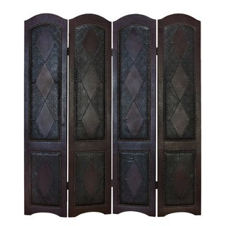 Wood Leather 4 Panel Screen Brings Completeness To Decor