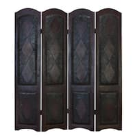 Wood Leather 4 Panel Screen Brings Completeness To Decor - 17 x 72