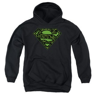 Youth's Black Cotton/Polyester Superman/Circuits Shield Pull-over Hoodie