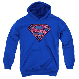 Superman/Paisley Shield Youth Royal Blue Pullover Hoodie