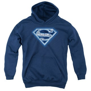 Superman Youth Cyber Shield Navy Cotton/Polyester Pullover Hoodie