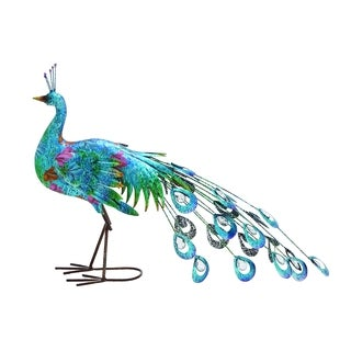 Metal Crafted Vibrant Shade Peacock Decor