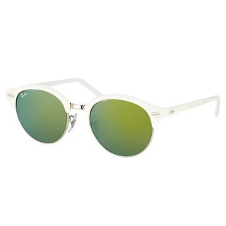 Ray-Ban RB 4246 988/2X Clubround Wrinkled White And Gold Plastic Clubmaster Green Mirror Lens Sunglasses