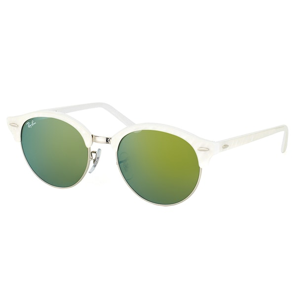 3f9b06b398 Ray-Ban RB 4246 988 2X Clubround Wrinkled White And Gold Plastic Clubmaster  Green