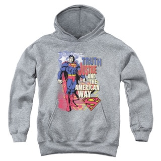 Superman Youth 'Truth Justice and the American Way' Heather Cotton/Polyester Pullover Hoodie