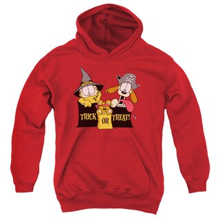 Garfield/Trick or Treat Youth Pull-Over Hoodie in Red