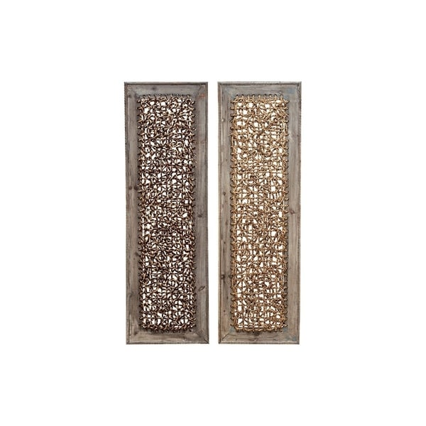 Studio 350 Wood Wall Decor Set of 2, 38 inches high, 12 inches wide - Brown